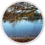 Clear Lake Ella With Fountain Round Beach Towel