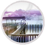 Clouds On Clear Lake Round Beach Towel