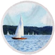 Clear Sailing Round Beach Towel by Shirley Stalter