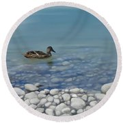 Round Beach Towel featuring the painting Clear Water  by Ivana Westin