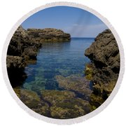 Clear Water Of Mallorca Round Beach Towel