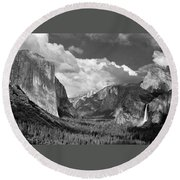 Clearing Skies Yosemite Valley Round Beach Towel