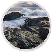Round Beach Towel featuring the photograph Clearing Storm At Bald Head Cliff by Rick Berk