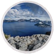 Clearing Storm At Crater Lake Round Beach Towel