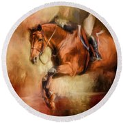 Clearing The Jump Equestrian Art Round Beach Towel