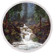 Clearwater Falls Round Beach Towel by Diane Schuster