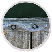 Cleat On A Dock Round Beach Towel