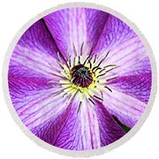 Round Beach Towel featuring the photograph Clematis Close Up by Kristin Elmquist