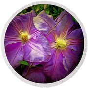 Clematis Azure Pearl Round Beach Towel