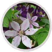 Clematis-ii Round Beach Towel