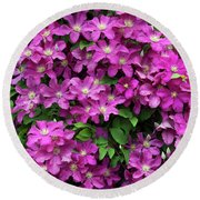Clematis Remembrance Flowers Round Beach Towel
