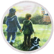 Clemson Kids Big Sister Little Brother Round Beach Towel