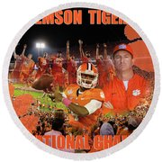 Clemson National Champs Round Beach Towel