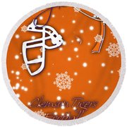 Clemson Tigers Christmas Card Round Beach Towel