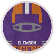 Clemson Tigers Vintage Football Art Round Beach Towel