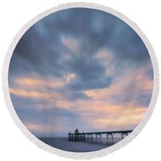 Clevedon Pier Round Beach Towel by Dominique Dubied