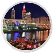Round Beach Towel featuring the photograph Cleveland And Tug Boats by Frozen in Time Fine Art Photography