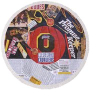 Round Beach Towel featuring the painting Cleveland Cavaliers 2016 Champs by Colleen Taylor