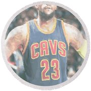 Cleveland Cavaliers Lebron James 5 Round Beach Towel
