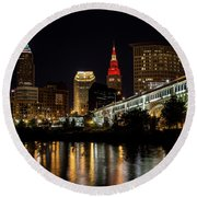 Cleveland Celebrates The Wine And Gold Round Beach Towel by Dale Kincaid