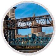 Cleveland City Of Bridges Round Beach Towel