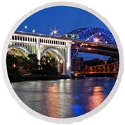 Cleveland Colored Bridges Round Beach Towel