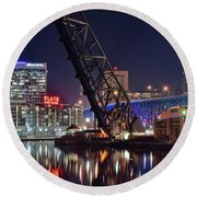 Round Beach Towel featuring the photograph Cleveland Flats East Bank by Frozen in Time Fine Art Photography