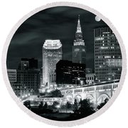 Cleveland Iconic Night Lights Round Beach Towel by Frozen in Time Fine Art Photography