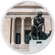 Cleveland Museum Of Art, The Thinker Round Beach Towel