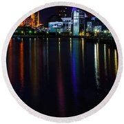 Cleveland Nightly Reflections Round Beach Towel