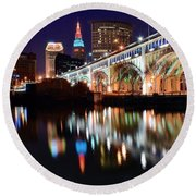 Cleveland Ohio Skyline Round Beach Towel by Frozen in Time Fine Art Photography