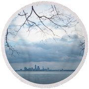 Cleveland Skyline With A Vintage Lens Round Beach Towel