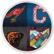 Cleveland Sports Fan Recycled Vintage Ohio License Plate Art Cavaliers Indians Browns And State Map Round Beach Towel