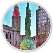 Round Beach Towel featuring the photograph Cleveland Statue Sunset by Frozen in Time Fine Art Photography