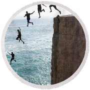 Cliff Diving Round Beach Towel