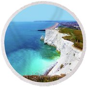 Round Beach Towel featuring the photograph Cliff Landscape by Francesca Mackenney