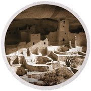 Round Beach Towel featuring the photograph Cliff Palace Mesa Verde by Kurt Van Wagner