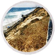 Cliff View - Carlsbad Ponto Beach Round Beach Towel