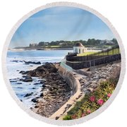 Round Beach Towel featuring the photograph Cliff Walk by Robin-Lee Vieira