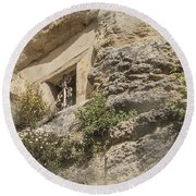Cliff Window Round Beach Towel