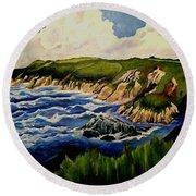 Cliffs And Sea Round Beach Towel