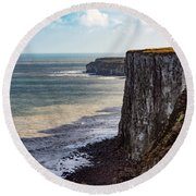 Round Beach Towel featuring the photograph Cliffs Of Bempton by Anthony Baatz