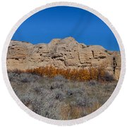 Round Beach Towel featuring the photograph Cliffs Of Hoodoos by Fran Riley