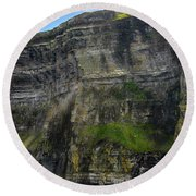 Round Beach Towel featuring the photograph Cliffs Of Moher From The Sea Close Up by RicardMN Photography