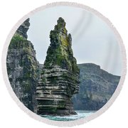 Cliffs Of Moher Sea Stack Round Beach Towel