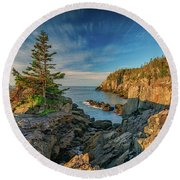 Round Beach Towel featuring the photograph Cliffs Of Quoddy Head State Park by Rick Berk