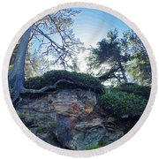 Round Beach Towel featuring the photograph Cliffside by Adria Trail