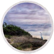 Cliffside Watcher Round Beach Towel