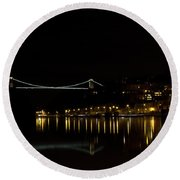 Clifton Suspension Bridge At Night Round Beach Towel