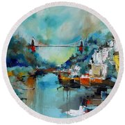 Clifton Suspension Bridge Bristol England Round Beach Towel